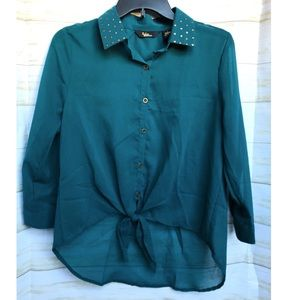 Studded collar Teal Blue Sheer Button Down Blouse